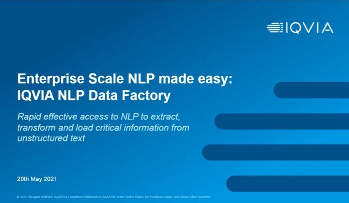 Webinar: Enterprise Scale NLP made easy: NLP Data Factory