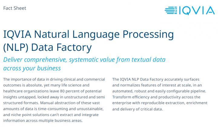 Fact Sheet: IQVIA Natural Language Processing (NLP) Data Factory