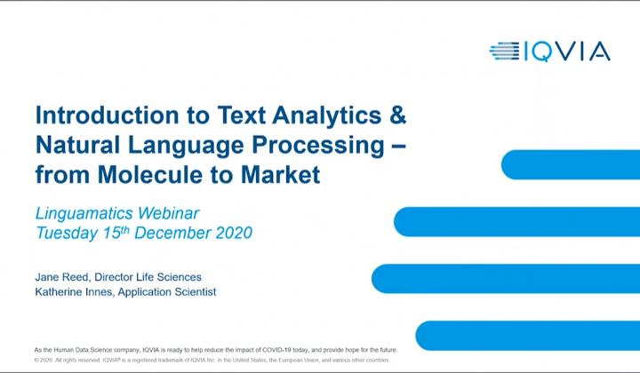 Webinar: Introduction to Natural Language Processing from molecule to market