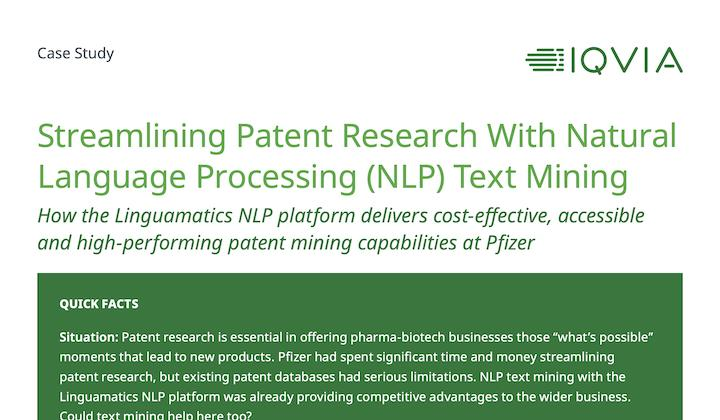 Case study: Patent Analytics at Pfizer