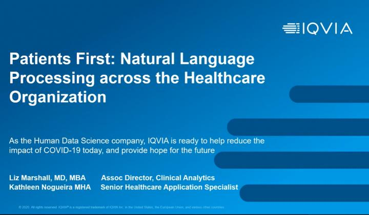 Webinar: Patients First: Natural Language Processing across the Healthcare Organization