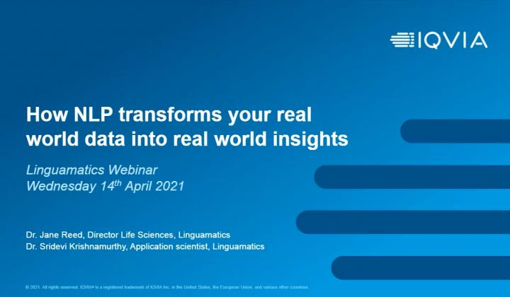 Webinar: How NLP transforms your real world data into real world insights
