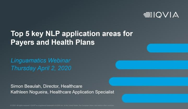 Top 5 key NLP application areas for Payers and Health Plans